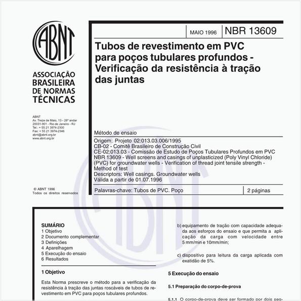 Tubos de revestimento em PVC para poços tubulares profundos - Verificação da resistência à tração das juntas - Método de ensaio