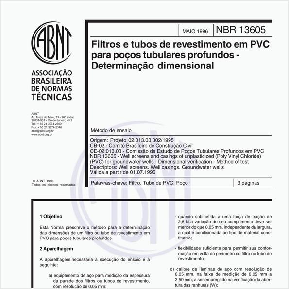 Filtros e tubos de revestimento em PVC para poços tubulares profundos - Determinação dimensional - Método de ensaio