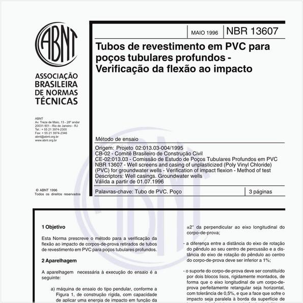 Tubos de revestimento em PVC para poços tubulares profundos - Verificação da flexão ao impacto