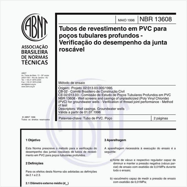 Tubos de revestimento em PVC para poços tubulares profundos - Verificação do desempenho da junta roscável - Método de ensaio