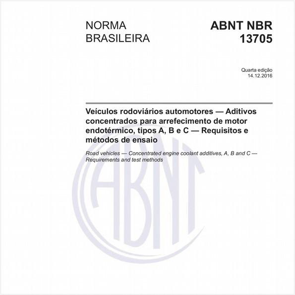 Veículos rodoviários automotores - Aditivos concentrados para arrefecimento de motor endotérmico, tipos A, B e C - Requisitos e métodos de ensaio