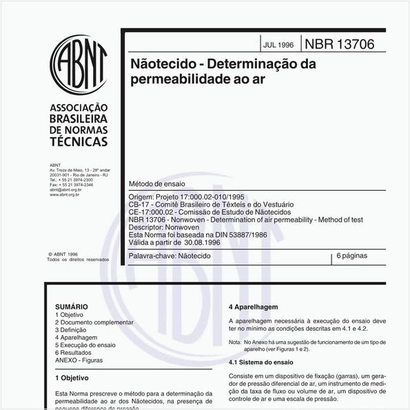 Nãotecido - Determinação da permeabilidade ao ar