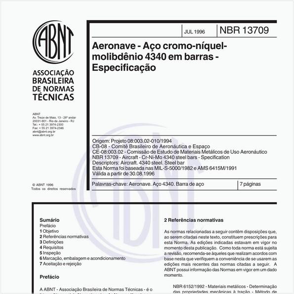 Aeronave - Aço cromo-níquel-molibdênio 4340 em barras - Especificação
