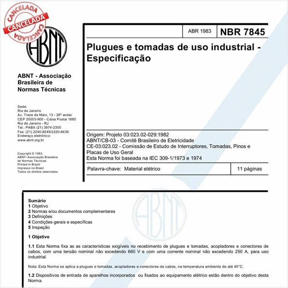 Plugues e tomadas de uso industrial - Especificação