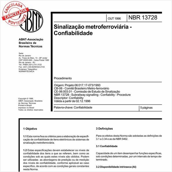 Sinalização metroferroviária - Confiabilidade