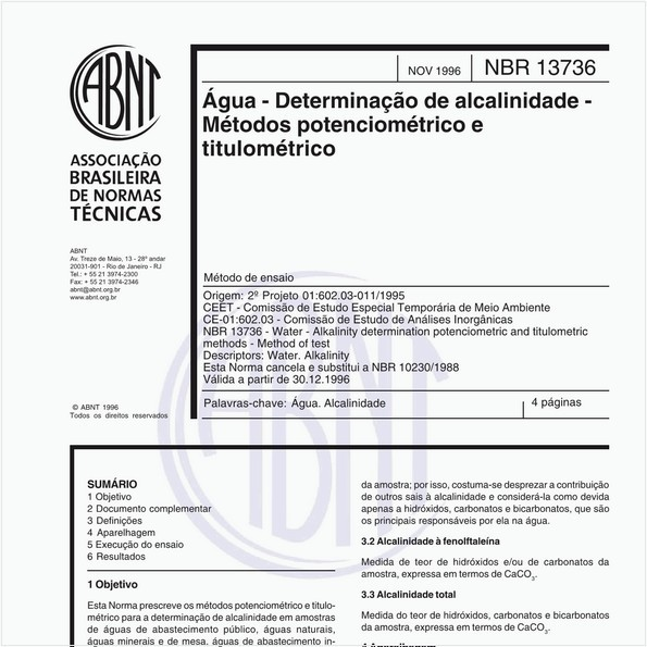 Água - Determinação de alcalinidade - Métodos potenciométrico e titulométrico