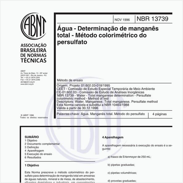 Água - Determinação de manganês total - Método colorimétrico do persulfato