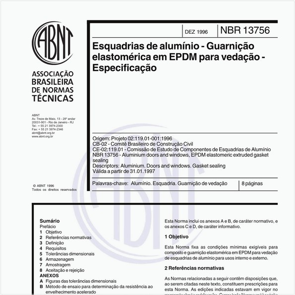 Esquadrias de alumínio - Guarnição elastomérica em EPDM para vedação - Especificação