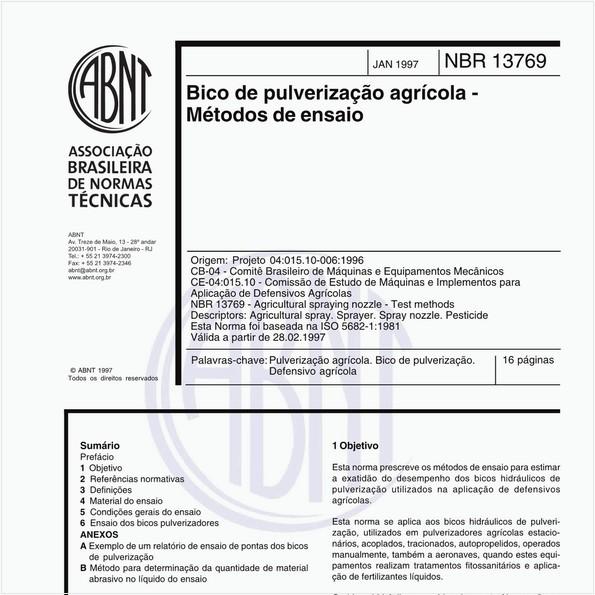 Bico de pulverização agrícola - Métodos de ensaio