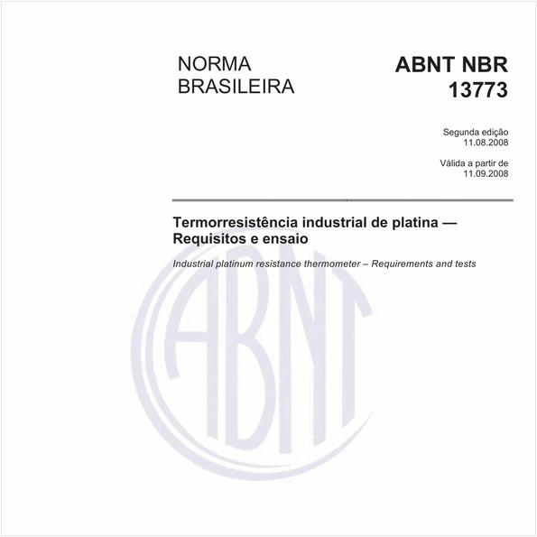 Termorresistência industrial de platina - Requisitos e ensaio