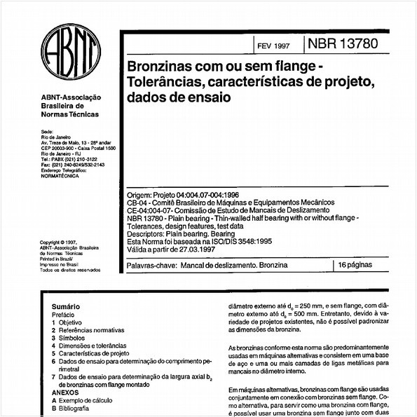 Bronzidas com ou sem flange - Tolerâncias, características de projeto, dados de ensaio