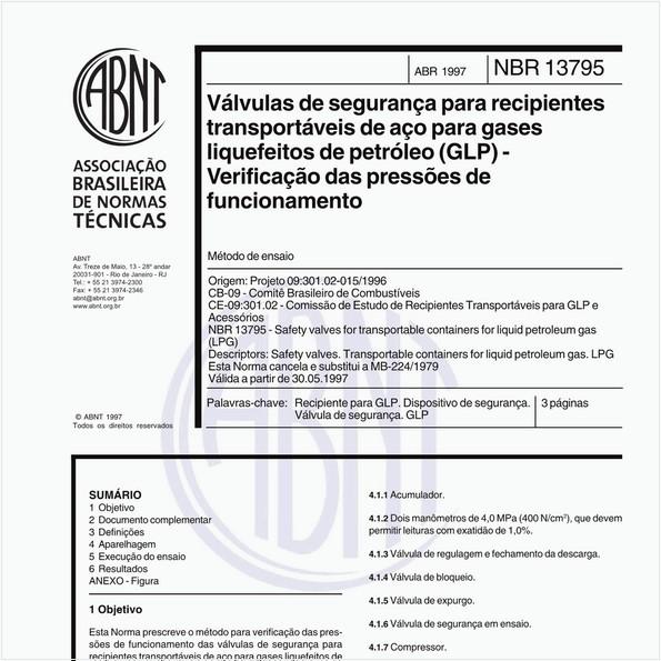 Válvulas de segurança para recipientes transportáveis de aço para gases liquefeitos de petróleo (GLP) - Verificação das pressões de funcionamento