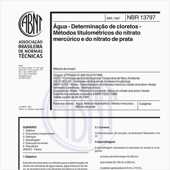 Água - Determinação de cloretos - Métodos titulométricos do nitrato mercúrico e do nitrato de prata