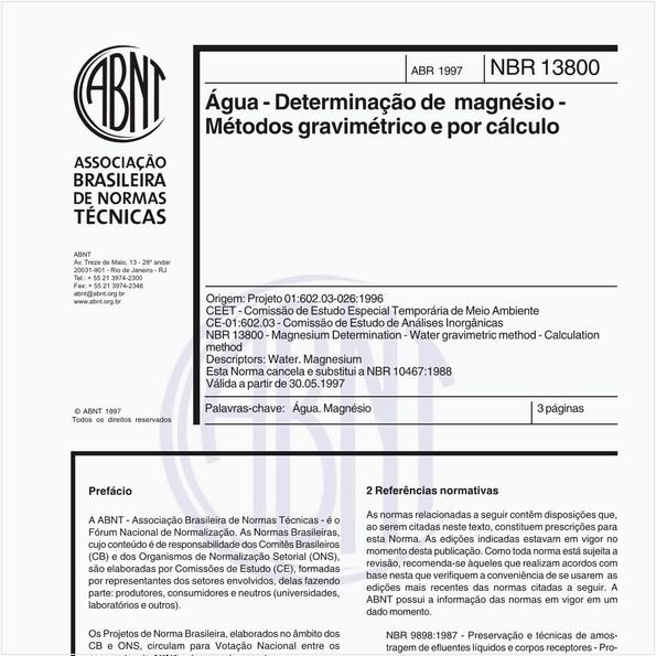 Água - Determinação de magnésio - Métodos gravimétrico e por cálculo