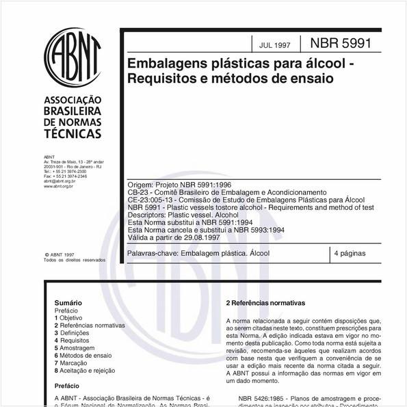 Embalagens plásticas para álcool - Requisitos e métodos de ensaio