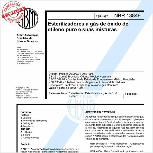 Esterilizadores a gás de óxido de etileno puro e suas misturas