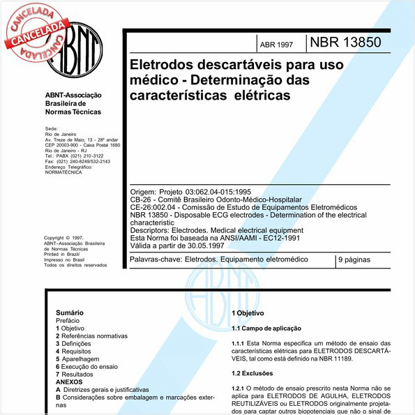 Eletrodos descartáveis para uso médico - Determinação das características elétricas