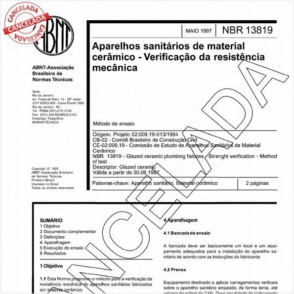 Aparelhos sanitários de material cerâmico - Verificação da resistência mecânica
