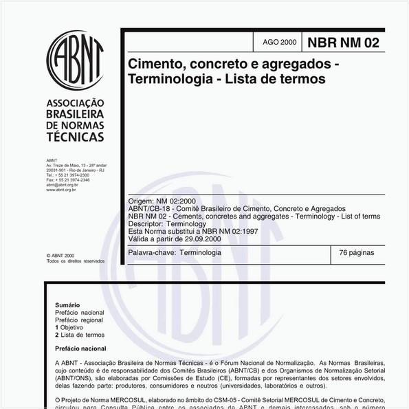 Cimento, concreto e agregados - Terminologia - Lista de termos
