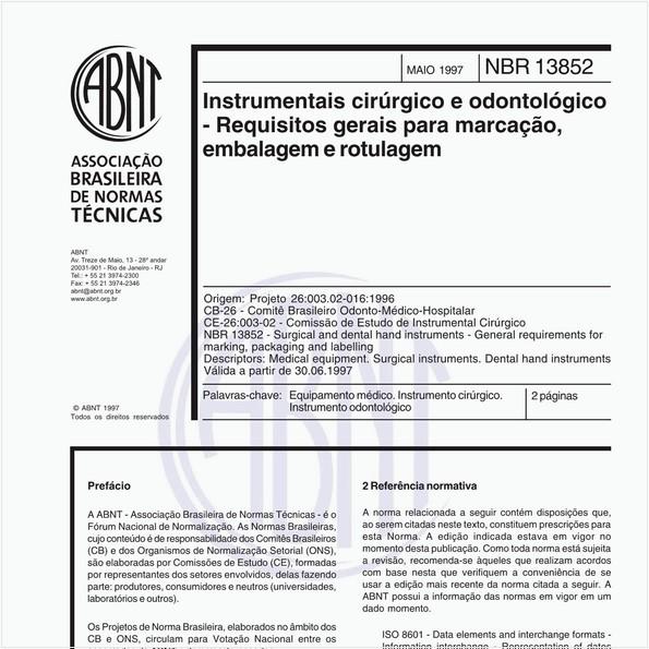 Instrumentais cirúrgico e odontológico - Requisitos gerais para marcação, embalagem e rotulagem