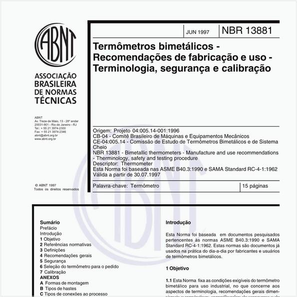 Termômetros bimetálicos - Recomendações de fabricação e uso - Terminologia, segurança e calibração