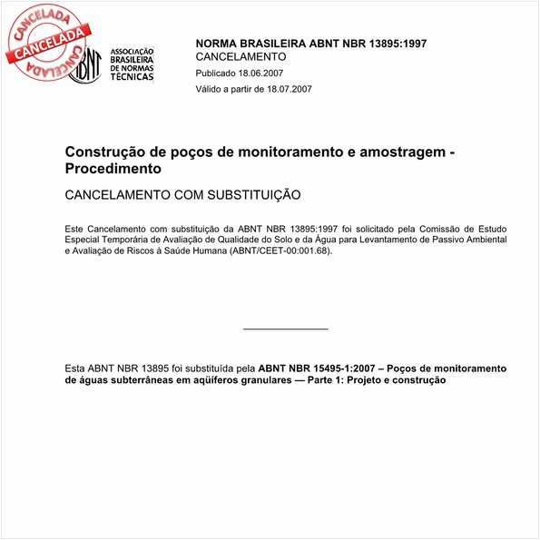 Construção de poços de monitoramento e amostragem - Procedimento