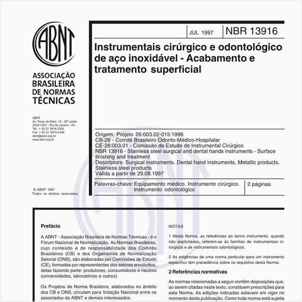 Instrumentais cirúrgico e odontológico de aço inoxidável - Acabamento e tratamento superficial