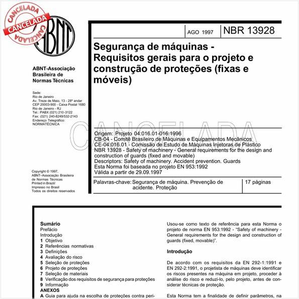 Segurança de máquinas - Requisitos gerais para o projeto e construção de proteções (fixas e móveis)