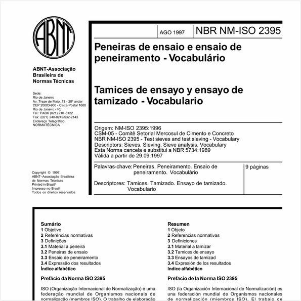 Peneiras de ensaio e ensaio de peneiramento - Vocabulário.