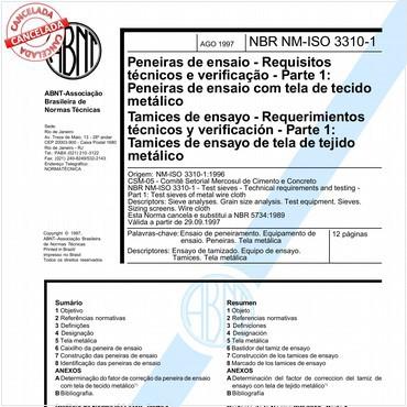 NBRNM-ISO3310-1 de 08/1997