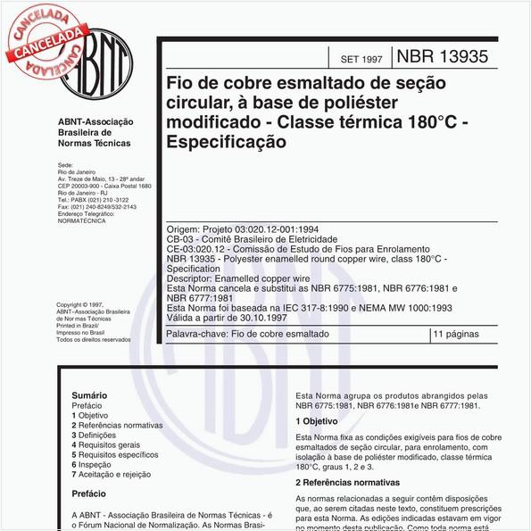 Fio de cobre esmaltado de seção circular, à base de poliéster modificado - Classe térmica 180 graus Celsius - Especificação