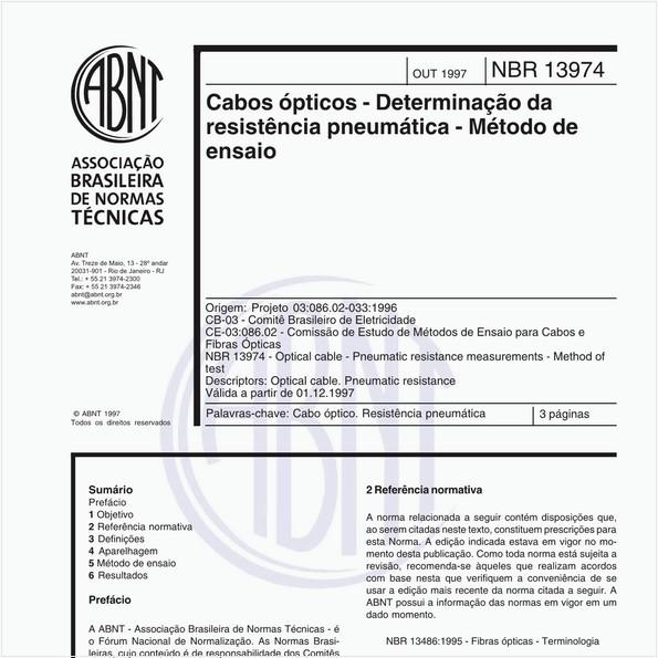 Cabos ópticos - Determinação da resistência pneumática - Método de ensaio
