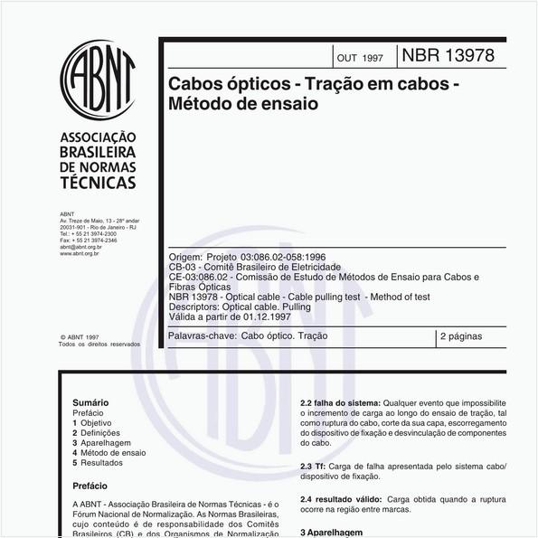 Cabos ópticos - Tração em cabos - Método de ensaio