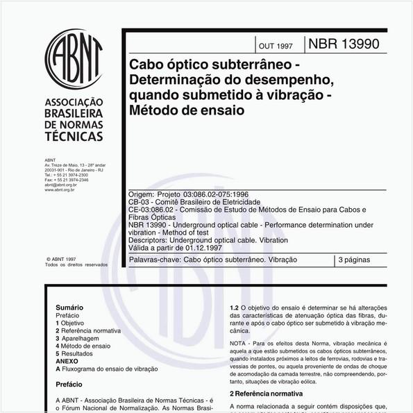 Cabo óptico subterrâneo - Determinação do desempenho, quando submetido à vibração - Método de ensaio