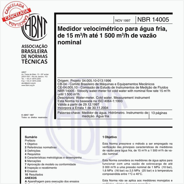 Medidor velocimétrico para água fria, de 15 m³/h até 1 500 m³/h de vazão nominal