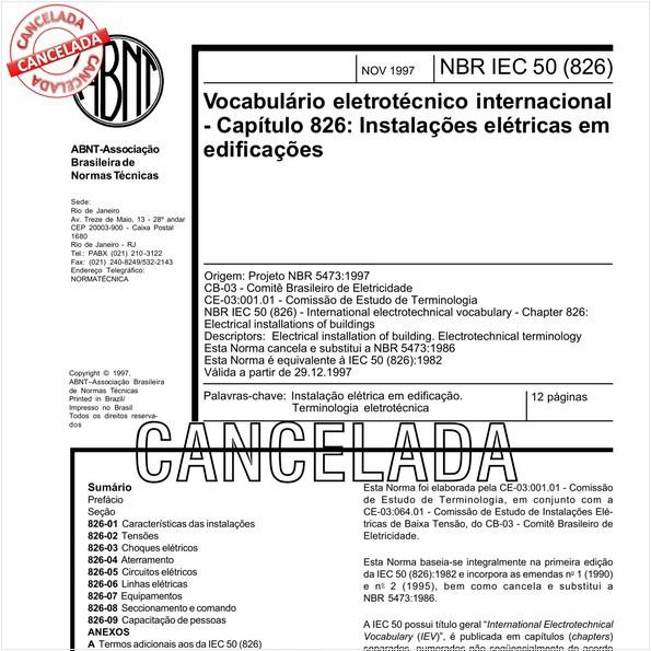 Vocabulário eletrotécnico internacional - Capítulo 826: Instalações elétricas em edificações
