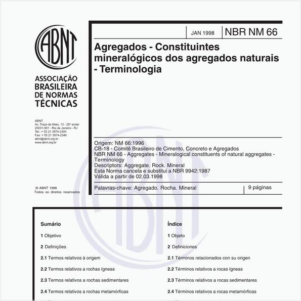 Agregados - Constituintes mineralógicos dos agregados naturais - Terminologia