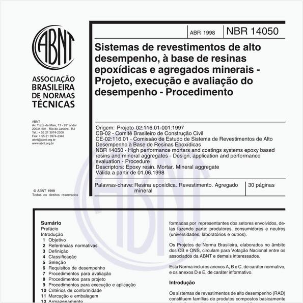 Sistemas de revestimentos de alto desempenho, à base de resinas epoxídicas e agregados minerais - Projeto, execução e avaliação do desempenho - Procedimento