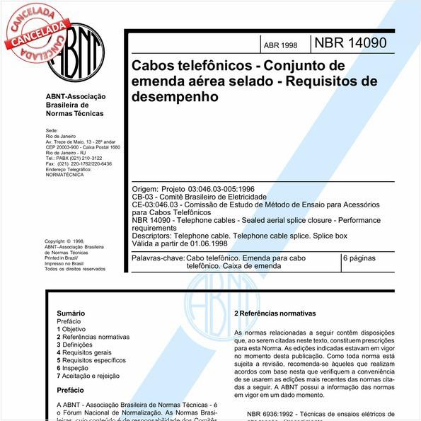 Cabos telefônicos - Conjunto de emenda aérea selado - Requisitos de desempenho