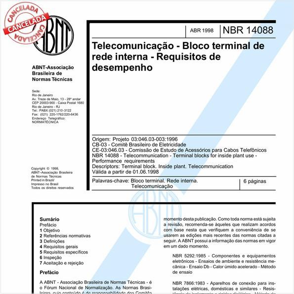 Telecomunicação - Bloco terminal de rede interna - Requisitos de desempenho