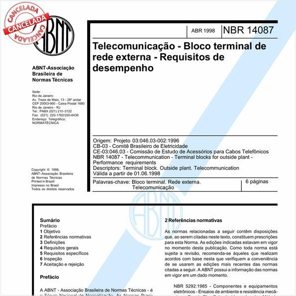 Telecomunicação - Bloco terminal de rede externa - Requisitos de desempenho