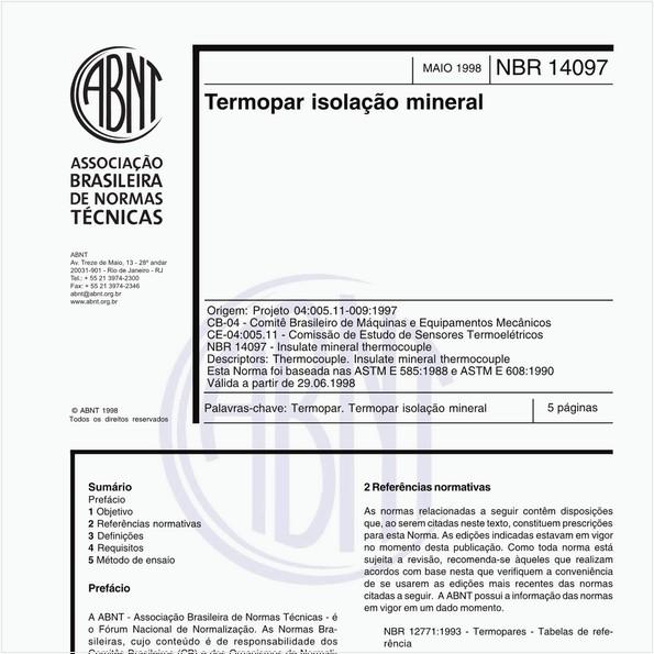 Termopar isolação mineral