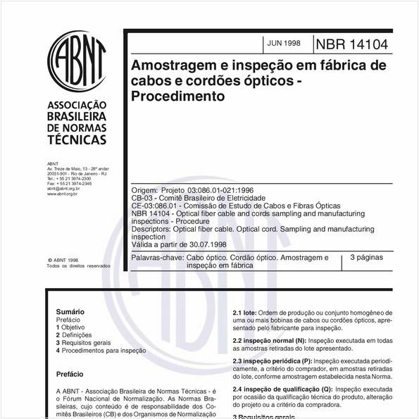 Amostragem e inspeção em fábrica de cabos e cordões ópticos - Procedimento