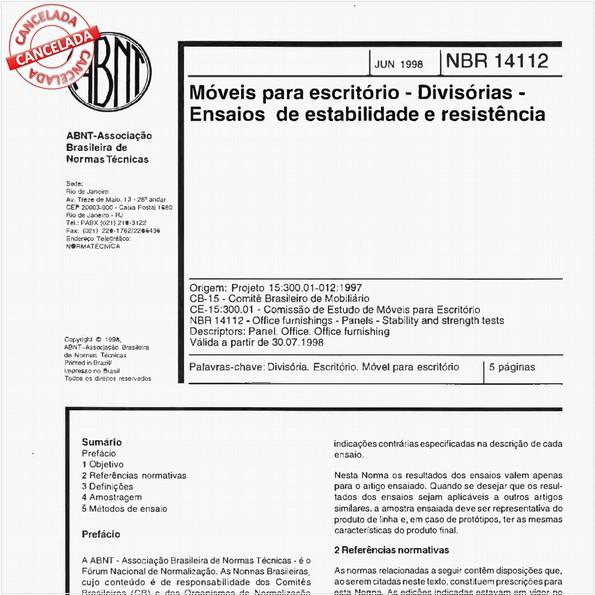 Móveis para escritório - Divisórias - Ensaios de estabilidade e resistência