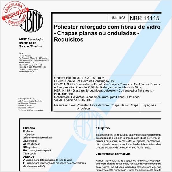 Poliéster reforçado com fibras de vidro - Chapas planas ou onduladas - Requisitos