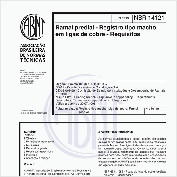Ramal predial - Registro tipo macho em ligas de cobre - Requisitos