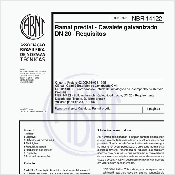 Ramal predial - Cavalete galvanizado DN 20 - Requisitos