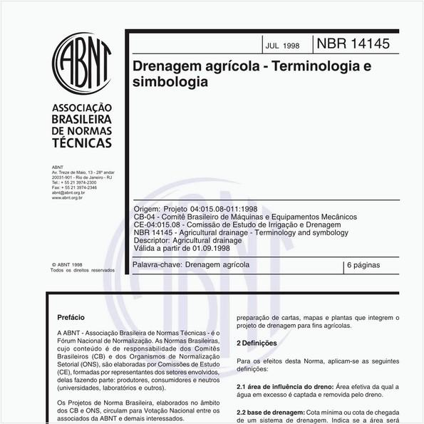 Drenagem agrícola - Terminologia e simbologia