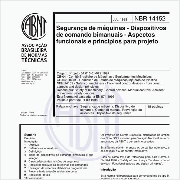 Segurança de máquinas - Dispositivos de comando bimanuais - Aspectos funcionais e princípios para projeto