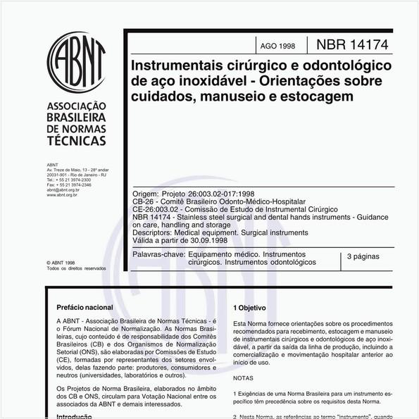 Instrumentais cirúrgicos e odontológico de aço inoxidável - Orientações sobre cuidados, manuseio e estocagem